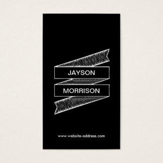 COOL & FUN HAND-DRAWN RIBBON LOGO in WHITE/BLACK Business Card