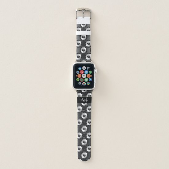 Cool fun Music Speaker design pattern Monogram Apple Watch Band