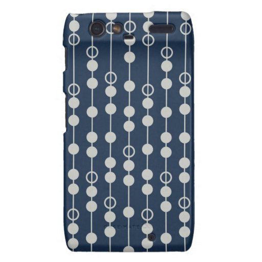 Cool Fun Navy Blue and White Beads on a String Motorola Droid RAZR Cover