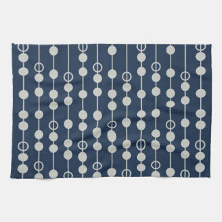 Cool Fun Navy Blue and White Beads on a String Hand Towel