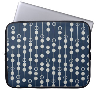 Cool Fun Navy Blue and White Beads on a String Laptop Sleeves