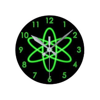 Cool Fun Unique Neon Light Green Atomic Symbol Round Clock