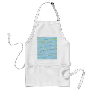 Cool Fun Wavy Dotted Dashed Lines Across Baby Blue Adult Apron
