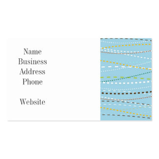 Cool Fun Wavy Dotted Dashed Lines Across Baby Blue Business Card
