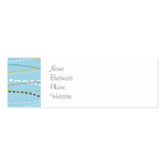 Cool Fun Wavy Dotted Dashed Lines Across Baby Blue Mini Business Card