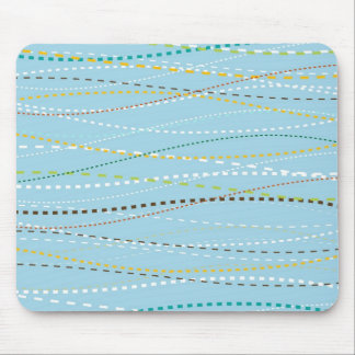 Cool Fun Wavy Dotted Dashed Lines Across Baby Blue Mouse Pad