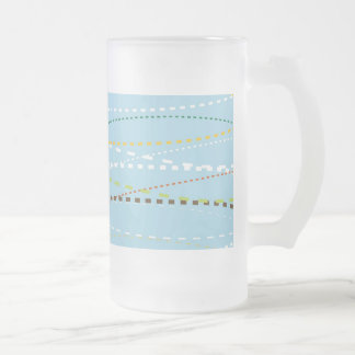 Cool Fun Wavy Dotted Dashed Lines Across Baby Blue 16 Oz Frosted Glass Beer Mug