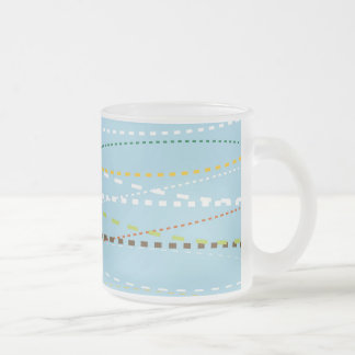 Cool Fun Wavy Dotted Dashed Lines Across Baby Blue Coffee Mugs