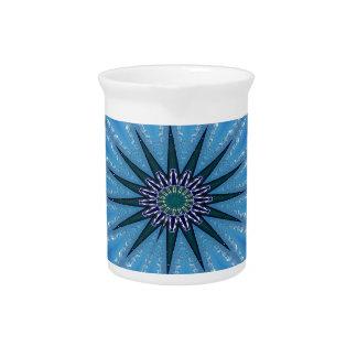 Cool Funky Artistic Royal Blue Starburst Pattern Drink Pitcher