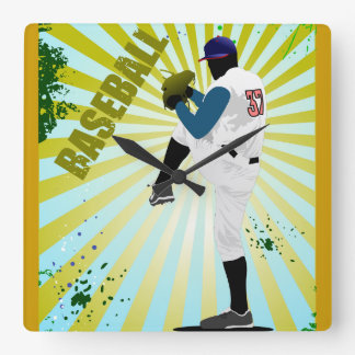 Cool Funky Baseball pitcher. Square Wall Clock