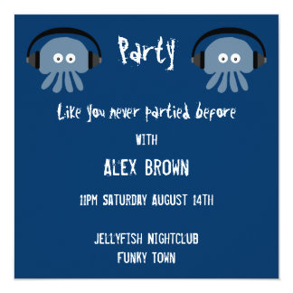 Cool & Funky blue Jellyfish DJ party invitations