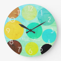 Cool Funky Bright Watercolor Dots  Add Name Clock