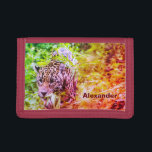 """Cool Funky Cheetah Personalized Name Trifold Wallet<br><div class=""""desc"""">Photography of a cheetah,  edited with a color filter,  but you can change the filter if you want by customizing the product,  there are different filters you can choose from.</div>"""