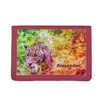 Cool Funky Cheetah Personalized Name Trifold Wallet