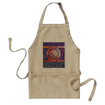 Cool Funky Circle Star Mosaic Pattern Indigo Red Adult Apron