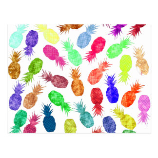 Cool Funky Funny Watercolor Pineapple Pattern Postcard