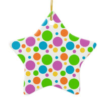 Cool Funky Multicolored Polka Dot Pattern Circle Ceramic Ornament