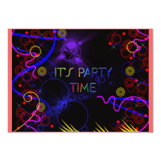 Cool Funky Neon Colors Party Invitation