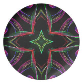 Cool Funky Neon Red Green Purple Abstract Melamine Plate
