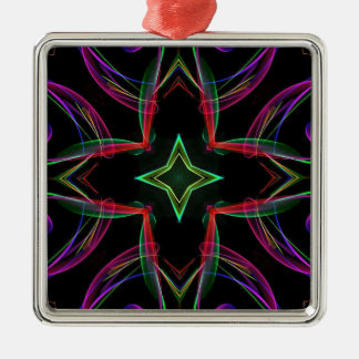Cool Funky Neon Red Green Purple Abstract Metal Ornament