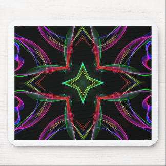 Cool Funky Neon Red Green Purple Abstract Mouse Pad