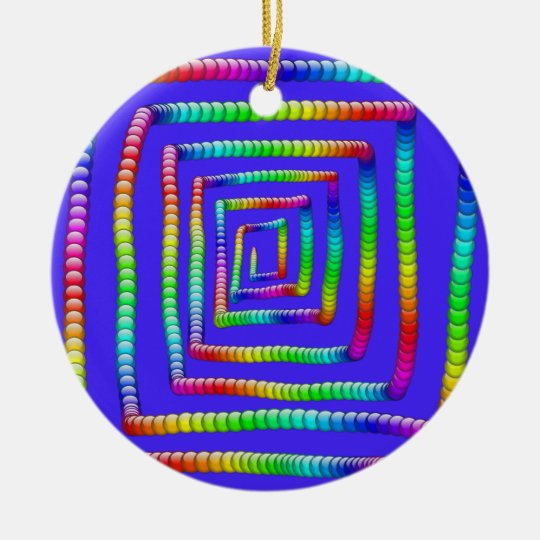Cool Funky Rainbow Maze Rolling Circle Spheres Des Ceramic Ornament