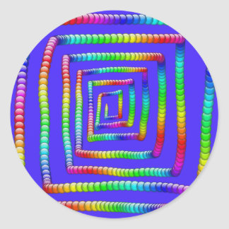 Cool Funky Rainbow Maze Rolling Circle Spheres Des Classic Round Sticker