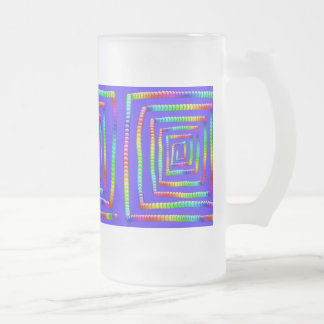 Cool Funky Rainbow Maze Rolling Circle Spheres Des Frosted Glass Beer Mug