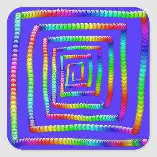 Cool Funky Rainbow Maze Rolling Circle Spheres Des Square Sticker