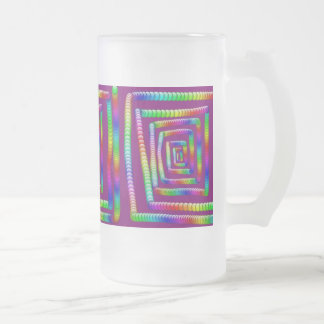 Cool Funky Rainbow Maze Rolling Marbles Design Frosted Glass Beer Mug