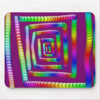 Cool Funky Rainbow Maze Rolling Marbles Design Mouse Pad