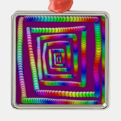 Cool Funky Rainbow Maze Rolling Marbles Design Ornaments