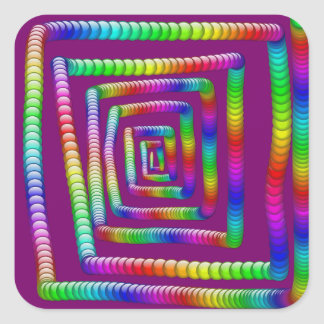 Cool Funky Rainbow Maze Rolling Marbles Design Square Sticker