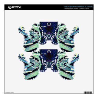 Cool Funky Shades of Blue Abstract Design PS3 Controller Skin