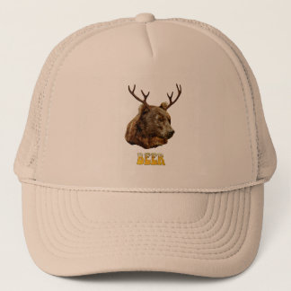 Cool Funny Beer Deer Bear With Glass Beer Letters Trucker Hat