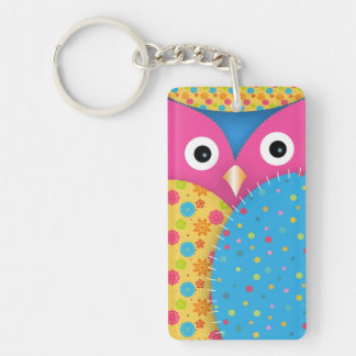 Cool funny cute trendy owl floral polka dots Single-Sided rectangular acrylic keychain