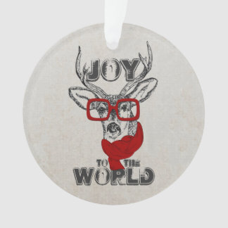 """Cool funny deer sketch """"Joy to the World"""" quote Ornament"""