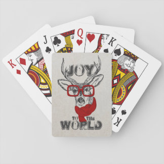 "Cool funny deer sketch ""Joy to the World"" quote Playing Cards"