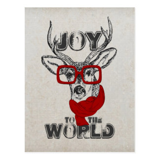 """Cool funny deer sketch """"Joy to the World"""" quote Postcard"""