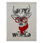 """Cool funny deer sketch """"Joy to the World"""" quote Poster"""