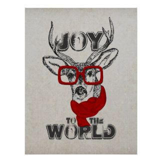 "Cool funny deer sketch ""Joy to the World"" quote Poster"