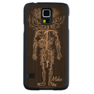 Cool Funny Geek Man's Circulatory System Custom Carved Cherry Galaxy S5 Slim Case