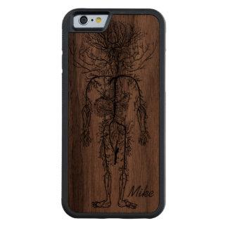 Cool Funny Geek Man's Circulatory System Custom Carved Walnut iPhone 6 Bumper Case