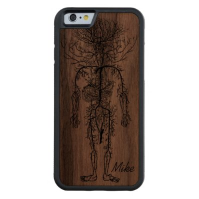 Cool Funny Geek Man's Circulatory System Custom Carved® Walnut iPhone 6 Bumper Case