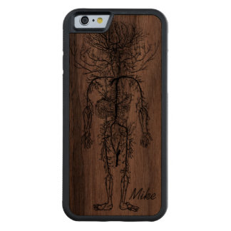 Cool Funny Geek Man's Circulatory System Custom Carved® Walnut iPhone 6 Bumper Case