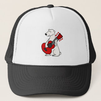 Cool Funny Polar Bear Playing Guitar Art Trucker Hat