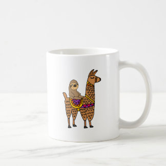 Cool Funny Sloth Riding Llama Coffee Mug