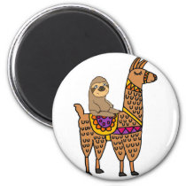 Cool Funny Sloth Riding Llama Magnet