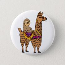Cool Funny Sloth Riding Llama Pinback Button