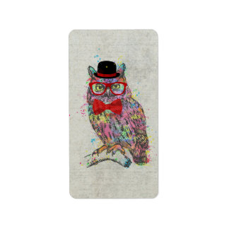 Cool funny trendy colourful watercolours owl address label